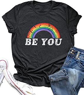 BANGELY Be You Gay Pride T Shirt LGBT Rainbow Tees for Women Summer Casual Vacation Shirts Letter Print Short Sleeve Lesbian Tops