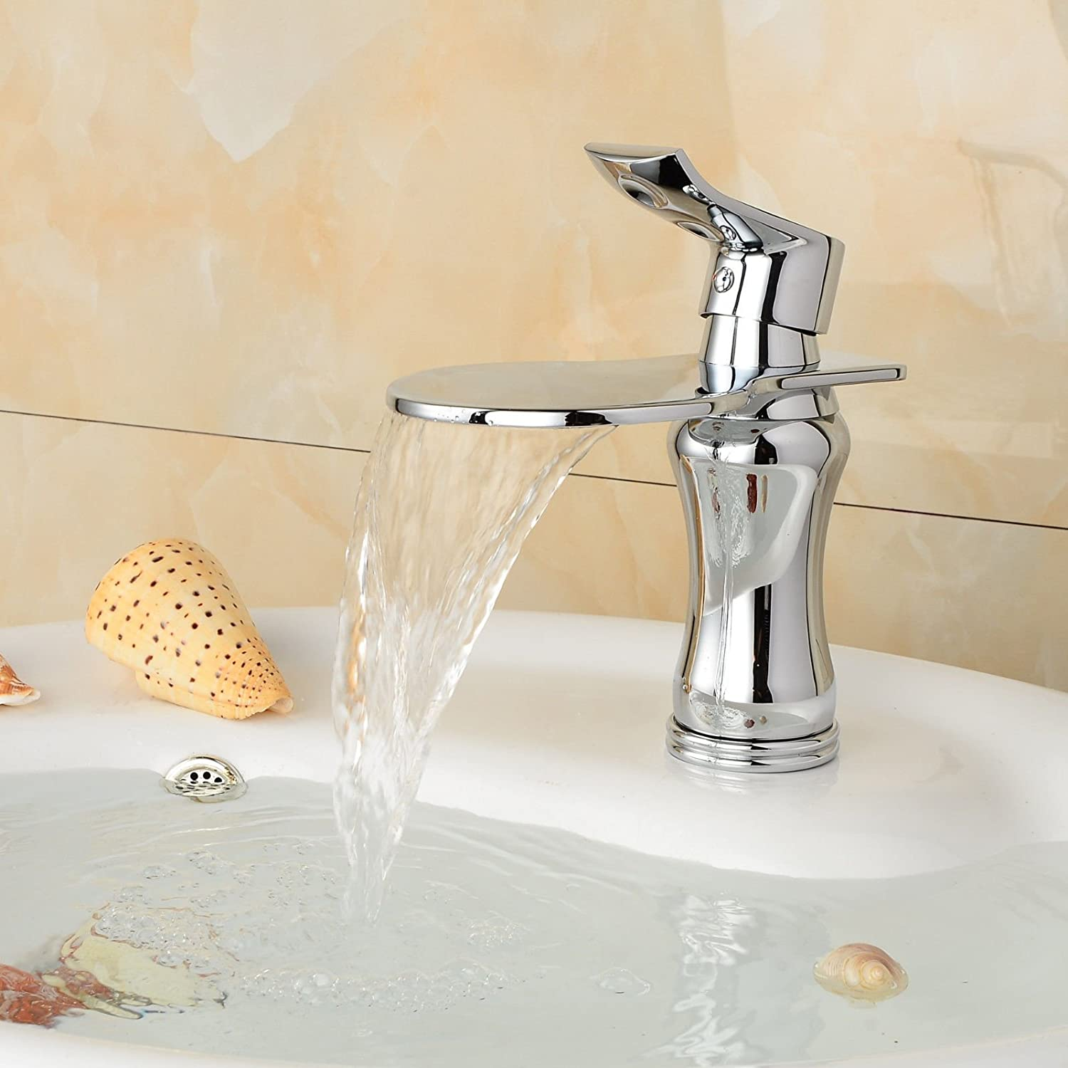 Lpophy Bathroom Sink Mixer Taps Faucet Bath Waterfall Cold and Hot Water Tap for Washroom Bathroom and Kitchen Copper Chrome Hot and Cold Silver Plating Waterfall
