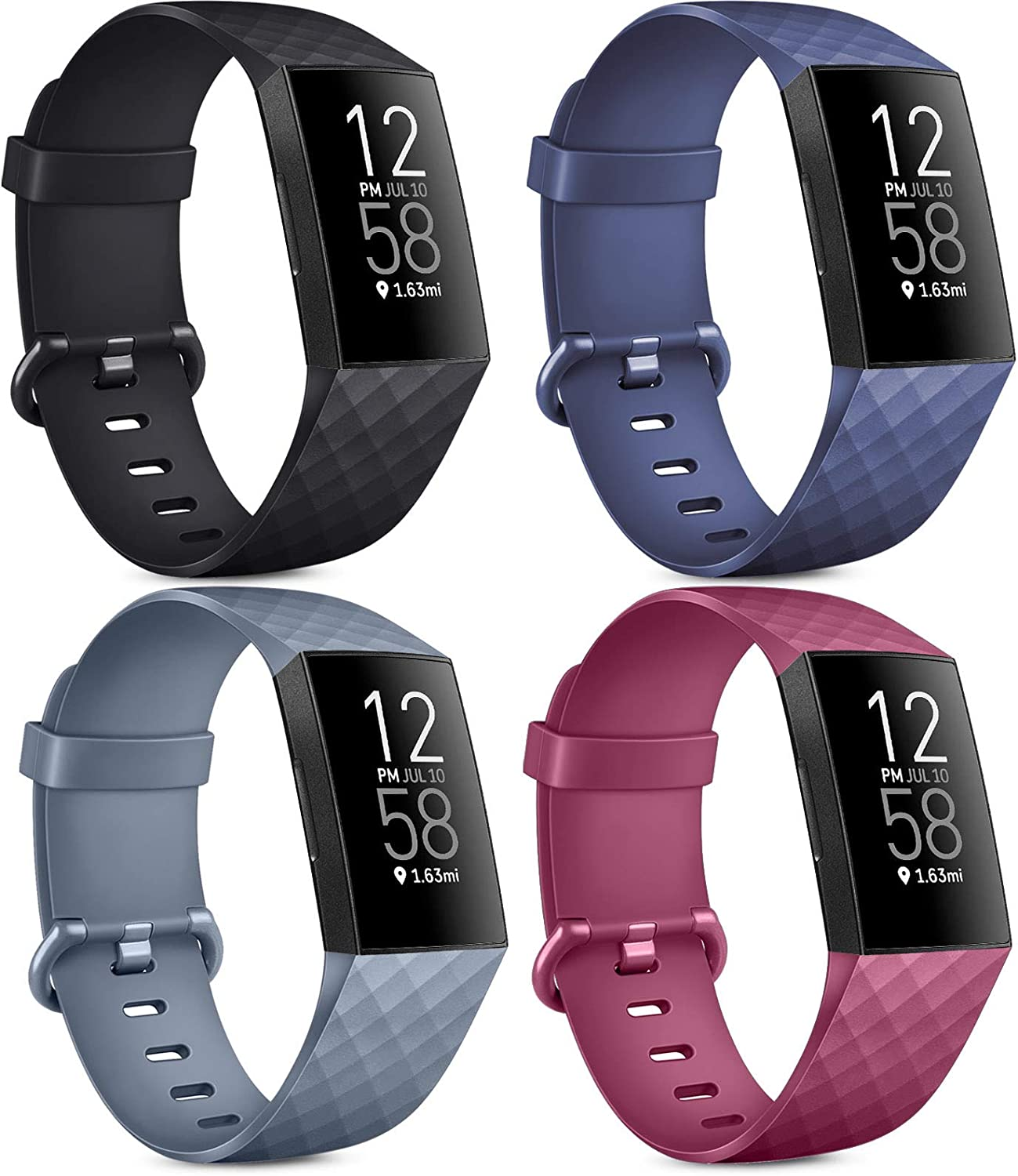 Pack 4 Silicone Bands for Fitbit Charge 4 / Fitbit Charge 3 / Charge 3 SE Soft WaterproofReplacement Wristbands for Women Men (No Tracker)(Small,Black+Blue+Blue Grey+Wine Red)