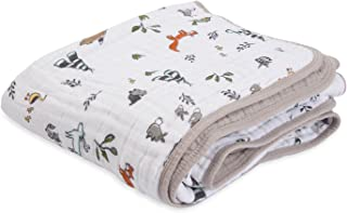 """Little Unicorn – Forest Friends Cotton Muslin Quilt Blanket   100% Cotton   Super Soft  Babies and Toddlers   Large 47"""" x ..."""