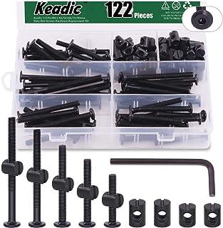 Keadic 122Pcs M6 x 40/50/60/70/80mm Baby Bed Screws Hardware Replacement Kit, Black Hex Socket Cap Bolts Barrel Nuts Assor...