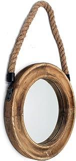 Funly mee Miroir décoratif rond rustique avec cadre en bois massif et corde à suspendre, décoration murale antique de ferm...