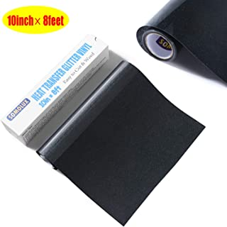 Glitter HTV Iron on Vinyl 10inch x 8feet Roll by SOMOLUX for Silhouette and Cricut Easy to Cut & Weed Heat Transfer Vinyl DIY Design for T-Shirts (Blue bit Glitter in The Black Background Vinyl)