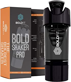 Boldfit Gym Shaker Pro Cyclone Shaker 500ml with Extra Compartment, 100% Leakproof Guarantee, Ideal for Protein, Preworkou...