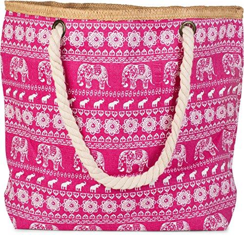 styleBREAKER Strandtasche mit Ethno Elefanten Muster und Reißverschluss, Schultertasche, Shopper, Damen 02012063, Farbe:Pink