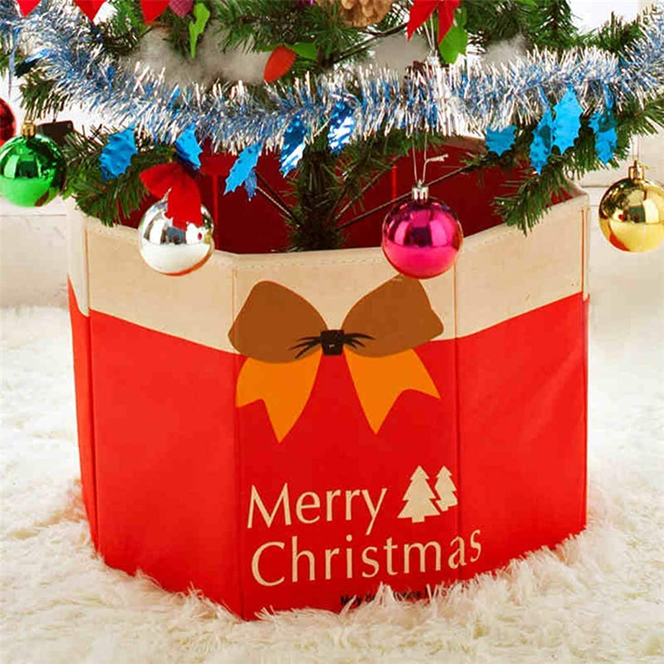 Fortuning's JDS Christmas Tree Base Cover Foldable Stand Box Home Holiday Ornaments