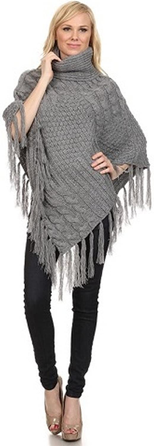 ICONOFLASH Women's Heavy Weight Turtleneck Fringed Tassel Poncho Cape