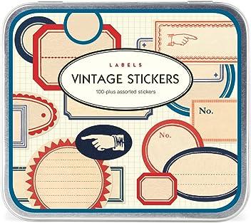 100 Plus assorties Autocollants Cavallini /& Co Alphabet Vintage stickers