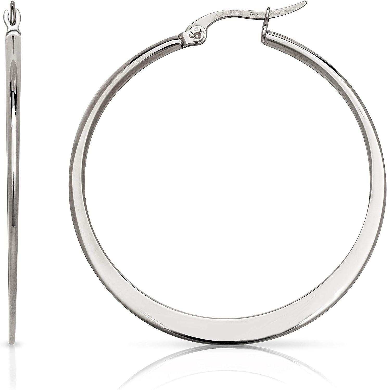 Stainless Steel Hoop Earrings 1.5 Inch Diameter
