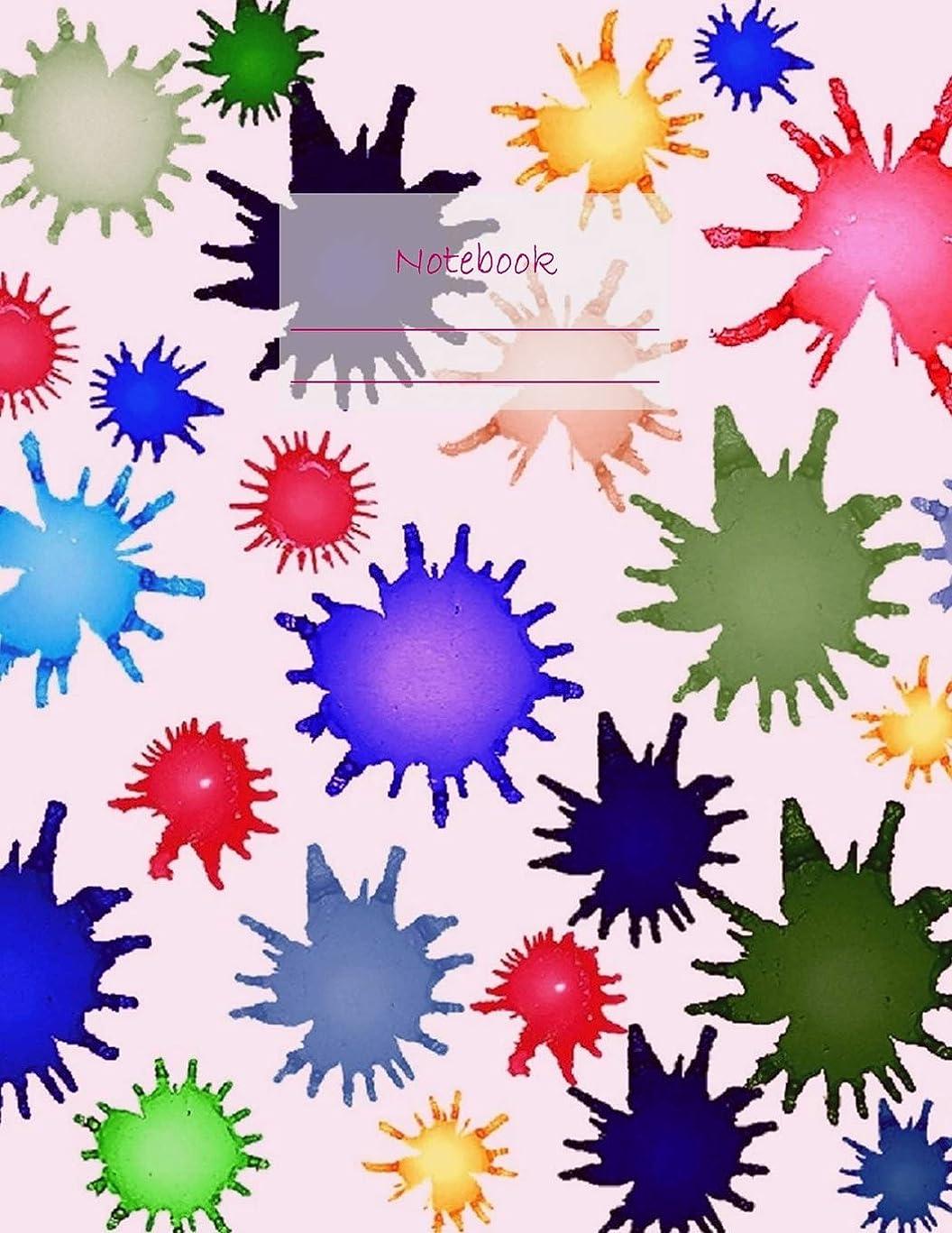 キャンペーン寸前タイムリーなNotebook: Large notebook with 120 Lined pages. Wide ruled. Ideal for School notes, Journaling, Hand lettering, Calligraphy practice. Perfect gift. 8.5' x 11.0' (Large). (Paint splatter cover).