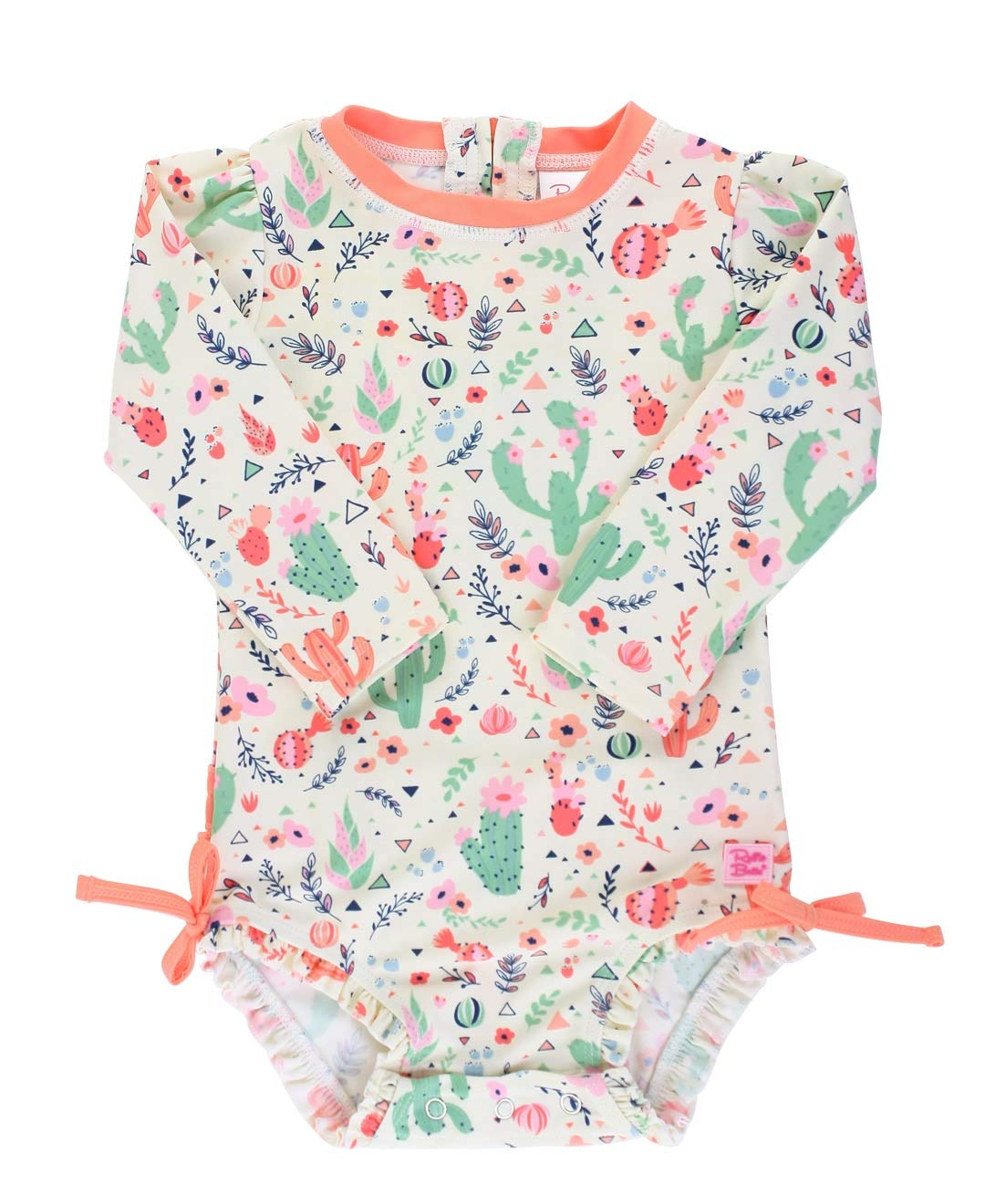 Sun Protection Long Sleeve One Piece Swimsuit with Zipper RuffleButts Baby//Toddler Girls UPF 50