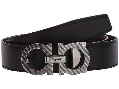 Salvatore Ferragamo Adjustable/Reversible Belt 67A163 (Black/Hickory) Men