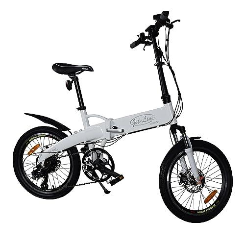 Jet-Line Klappfahrrad 7 Gang E Bike Weiss Alurahmen, Shimano Schaltung, Samsung Akku Scheibenbremsen Faltrad Elektro Fahrrad