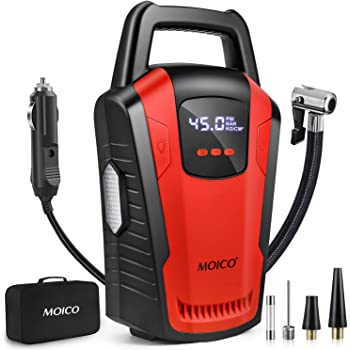 MOICO Portable Air Compressor Pump, 12V DC Car Tire Inflator with Digital Pressure Gauge,120 PSI Tire Pump,Auto Shut Off Air Pump with Bright LED Light for Car Tires, Bicycle, Motorcycle, Ball