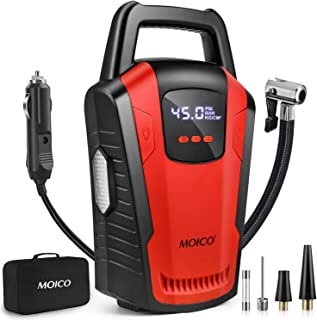 Portable Air Compressor Pump, MOICO 12V DC Car Tire Inflator with Digital Pressure Gauge,120 PSI Car Tire Pump,Auto Shut Off Car Air Pump with Bright LED Light for Car Tires, Bicycle, Motorcycle, Ball