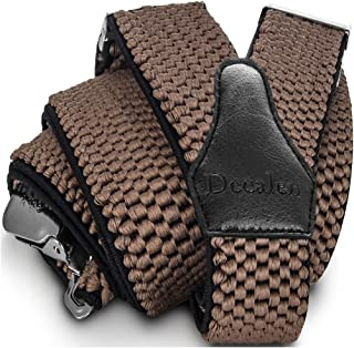 Decalen Mens Braces with Very Strong Clips Heavy Duty Suspenders One Size Fits All Wide Adjustable and Elastic Y Style