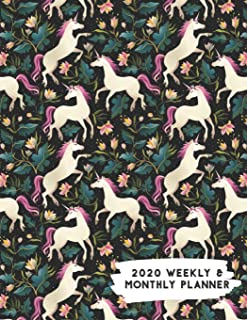 2020 Weekly & Monthly Planner: Garden of Flowers Mystic Unicorn Themed Calendar & Journal
