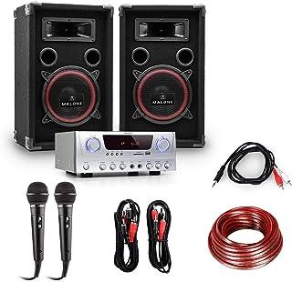 electronic star Set de DJ PA Easy - Amplificador Skytronic 400W, 2 Altavoces Profesionales 200W RMS, Micrófonos dinámicos, Ecualizador 2 Bandas, Eventos hasta 100 Personas, Negro