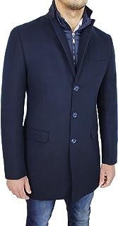 Cappotto Giacca Uomo Sartoriale in Lana Blu Scuro Casual Elegante Giaccone Invernale