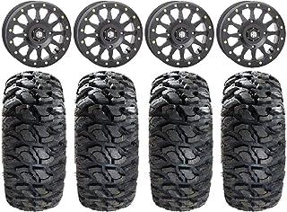 "Bundle - 9 Items: STI HD A1 Beadlock 15"" Wheels Black 30"" Kahuna Tires [4x137 Bolt Pattern 12mmx1.5 Lug Kit]"