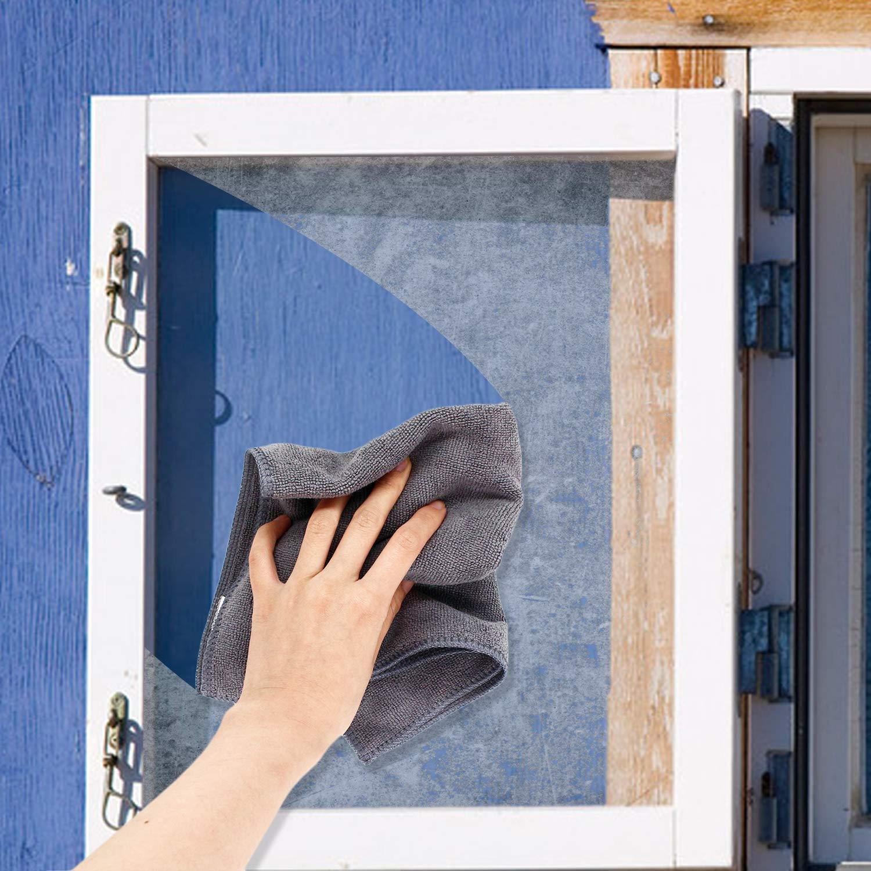 5 Pezzi Blu 40cm x 40cm Panno in Micro Fibra Super Assorbente Senza Lanugine Lavabile in Lavatrice per Pulizia di Casa Auto Moto Ufficio