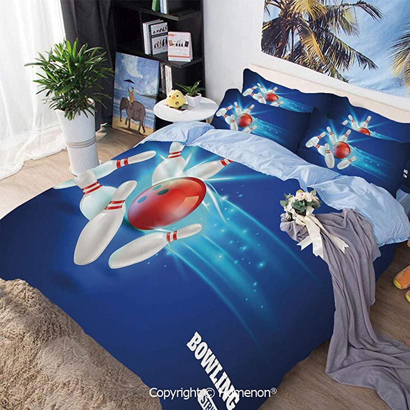 Bedding Sheets Set 3-Piece Bed Set,Bowling Strike Red Ball and Classical Pins Vivid Composition Decorative,Full Size,Include 1 Quilt Cover+2 Pillow case,Red Aqua Blue