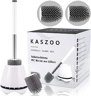 KASZOO - Escobillas de Inodoro con cerdas de Silicona limpias, escobillas de Inodoro de Silicona con Juego de Soportes de Secado rápido, ¡Cabeza de escobilla de baño Extra Gratis