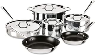 All-Clad 401488 NSR2-R Stainless Steel Tri-Ply Bonded PFOA Free Nonstick Cookware Set 10-Piece Silver 8400001269