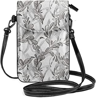 Women Small Cell Phone Purse Crossbody,Monochrome Line Art Style Leaves Natural Floral Pattern Sketchy Modern Design