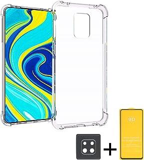 GeekDwarf【3点セット】Xiaomi Redmi Note 9s エアバンパー ケース 透明 クリア カバー ソフト TPU 全面保護 軽量 薄型 傷つけ防止 耐衝撃 (Bクリア:ガラスフィルム+カメラフィルム付き)