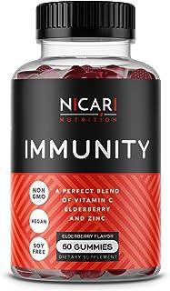 Nicari Nutrition - Immunity | Elderberry Immune Support Gummies with Vitamin C & Zinc - 60 Count (30 Day Supply) | Vegan, ...