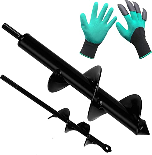 high quality Twinkle Star 2 Pack Garden Auger Spiral Drill Bit Set, 1.6 x 9 Inch & 3 x 12 2021 Inch with Garden online sale Genie Gloves, Plant Bulb Auger Fits for 3/8 Inch Dill for Bedding Plants and Digging Weeds Roots outlet sale