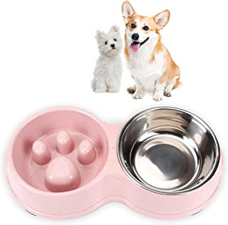 Lovinouse Slow Feeder Double with Stainless Steel Bowl for Dogs & Cats,  Anti-Choking,  with Non-Slip Pads,  Food Water Bowls Set