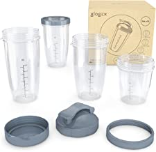 Glogex Magic Bullet Replacement Cups - NutriBullet Replacement Cups and Lids - 8 Piece Set for 600W/Pro 900 Series