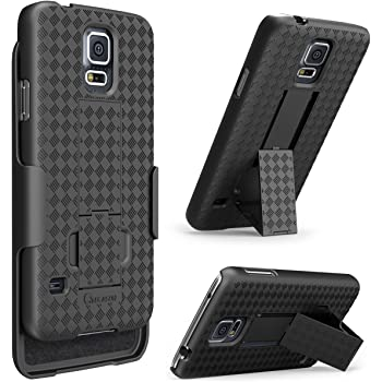 Galaxy S5 Case, i-Blason Transformer Slim Hard Shell Case Holster Combo with Kickstand and Locking Belt Swivel Clip for Samsung Galaxy S5  Fits AT&T, Sprint, Verizon, T-Mobile  (Black)