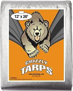 B-Air, Grizzly Tarp, 12X20, Multi Purpose Heavy Duty Waterproof Tarp, 14 x 14 Weave, Silver