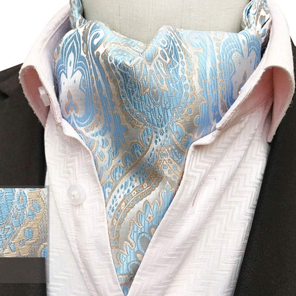 Hat Elegent Men's Paisley Floral Ascot Handkerchief Jacquard Classic Cravat Tie Luxury Woven Cravat & Pocket Square Set 11715.5cm Scarf (Color : 11)