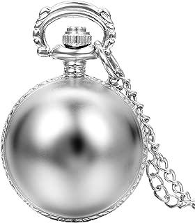 JewelryWe Silver Tone Pocket Watch Ball Shape Arabic Numerals Round Dial Small Quartz Watch with 31.5 inch Chain
