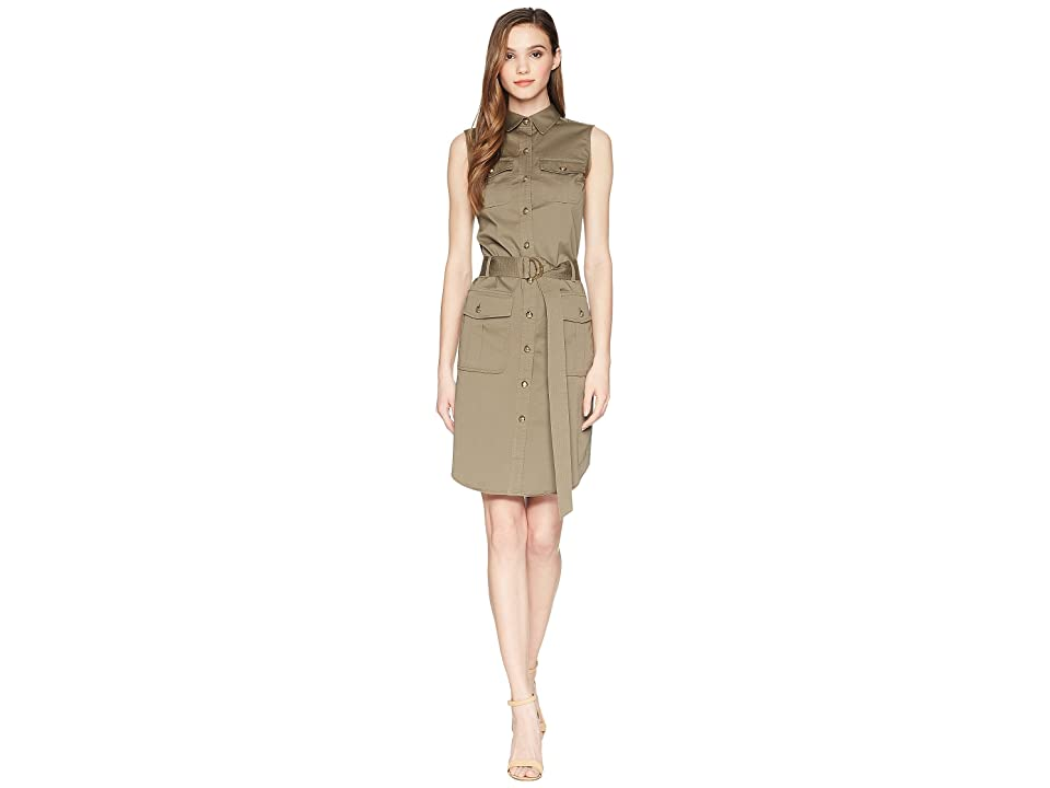 LAUREN Ralph Lauren Stretch Cotton Twill Utility Dress (Sage Moss) Women