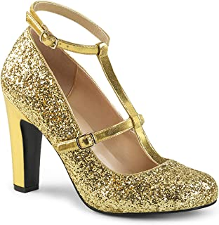 Pleaser Pink Label QUEEN-01 Women's Round Toe Pump with Glitters