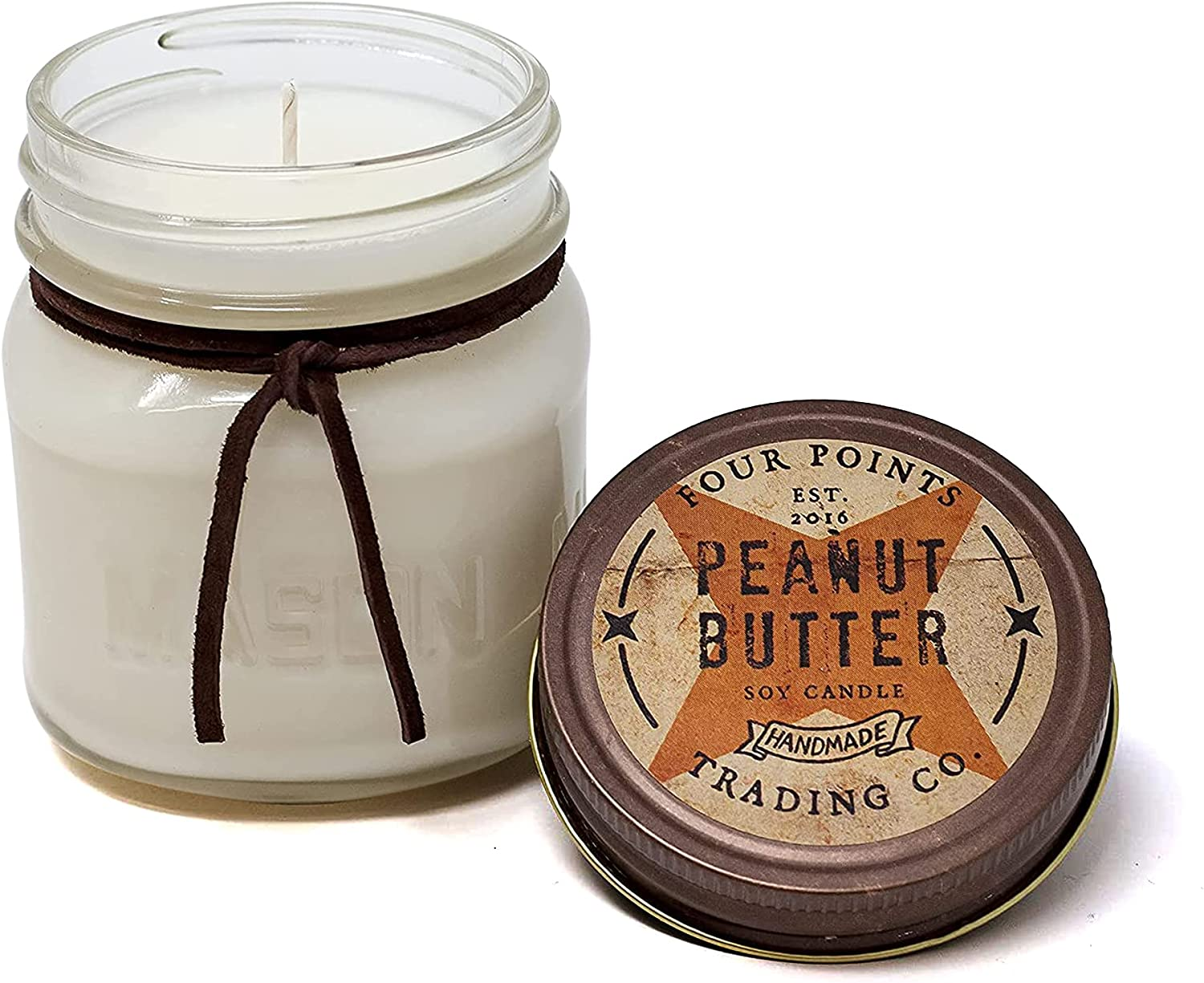 Peanut Butter Scented 8 Oz 1 year warranty Soy Jar half Aromatherapy Four w Candle -