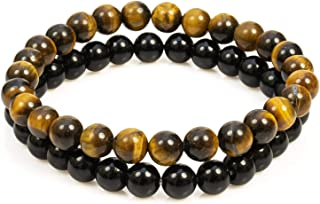 Divine Magic Stretch Bracelets Black Onyx Beads 8mm Stone Jewelry for Men and Tiger Eye Chakra Healing Crystal for Protect...