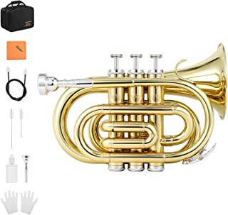 Eastar ETR-330 Pocket Trumpet Bb Gold Lacquer Mini Trumpet B Flat with Hard Case, Gloves, 7 C Mouthpiece, Valve Oil, Trumpet Cleaning Kit