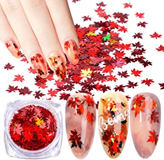 Minejin Nail Art DIY Maple Leaf Sequins Laser Glitters Thin Paillette Flakes Stickers Manicure Tips 12 Boxes