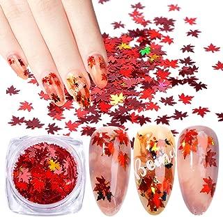 YesLady Nail Art Glitter Color Paillette Laser Maple Leaf Sequins Tips 3D Christmas DIY Flakes 12 Colors