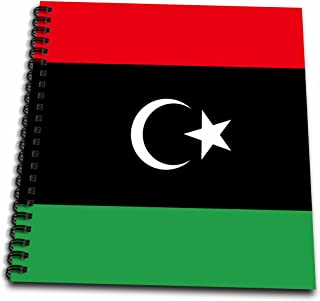 3dRose db_158357_1 Flag of Libya Libyan African Country Africa Red Black Green with White Crescent Moon and Star Drawing Book, 8 by 8-Inch