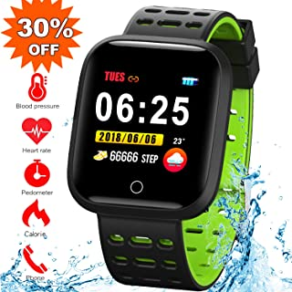 Fitness Activity Tracker Watch with Heart Rate Monitor, Blood Pressure Monitor, IP67 Waterproof Smart Bracelet Watch with Sleep Monitor, Calorie Counter, Pedometer, Call/SMS Remind for Women Men