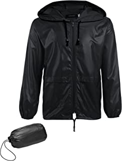 COOFANDY Men's Packable Rain Jacket Outdoor Waterproof Hooded Lightweight Classic Cycling Raincoat Poncho