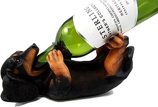 Ebros Kitchen Decor Purebreed Pedigree Canine Dog Wine Bottle Holder Figurine Statue (Black and Tan Dachshund)