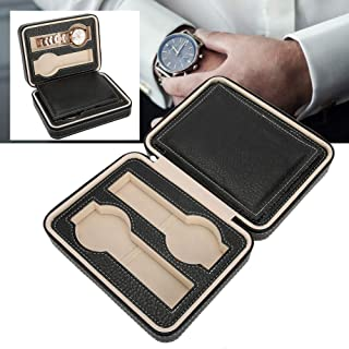 Zippered Watches Box, Watch Organizer Case 4Grids Portable Travel Watch Display Storage Box PU Watch Zipper Collector Case Organizer Holder 7.1x 5.5X 2.4in